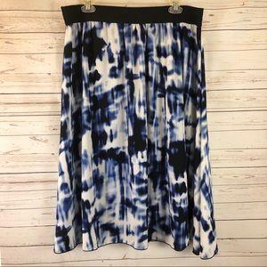 Lularoe NWT Lola skirt black white blue tiedye 2XL